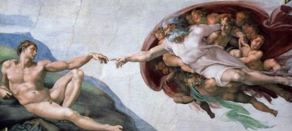 """""""Die Erschaffung Adams"""" befindet sich im sechsten Abschnitt des Gewölbes der Sixtinischen Kapelle."""