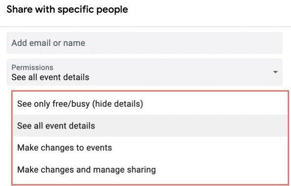 Teilen Sie den Google-Kalender mit bestimmten Personen