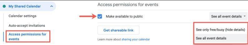 So teilen Sie den Google-Kalender öffentlich.