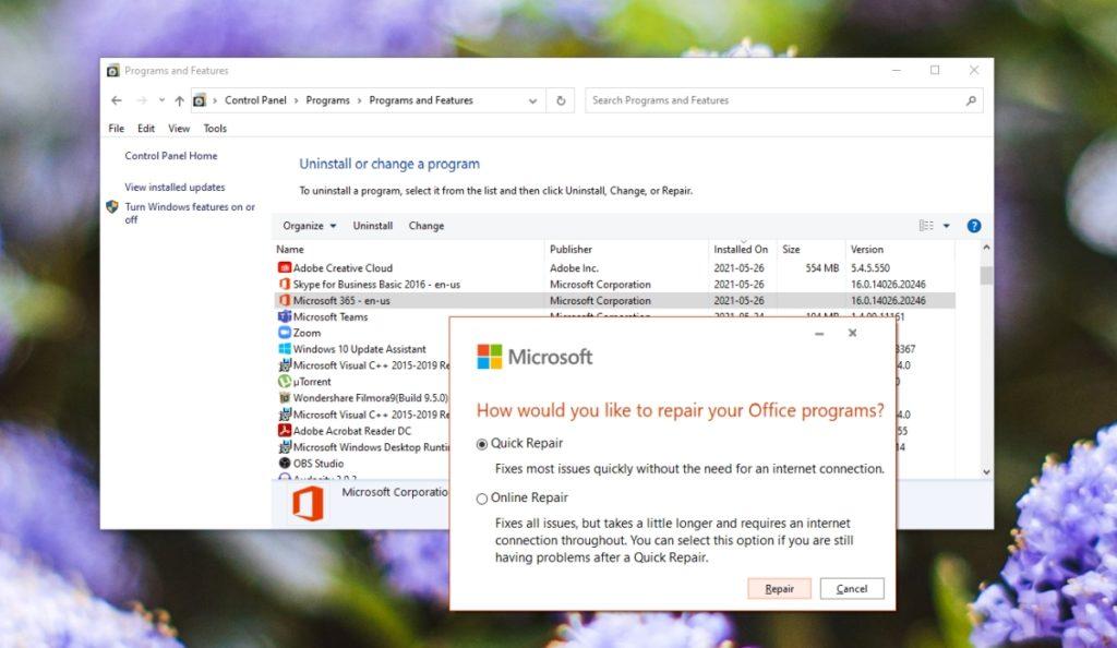 Microsoft Outlook reparieren.